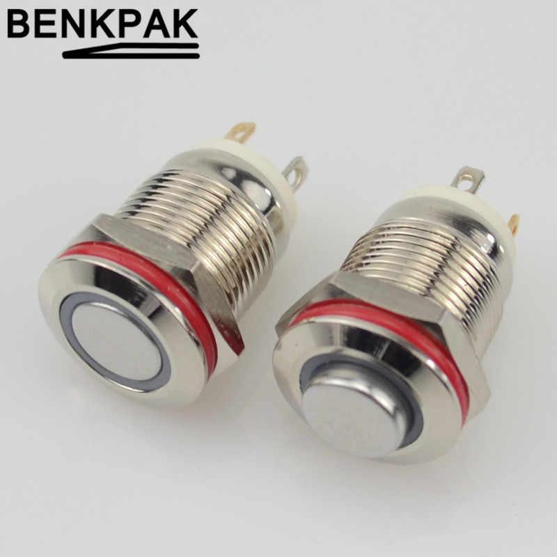 12 Mm dengan LED 3V 5V 12V 24V 220V Logam Tombol Switch Sesaat Push Button auto Reset Waterproof Illuminated