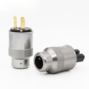 HI-End Krell copper Gold Plated US Power Plug, HIFI USA Power Cord Cable Audio Connector Plug IEC Female Plug 1 pair