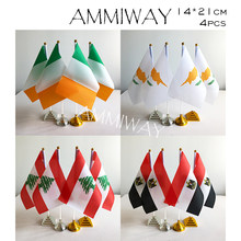 AMMIWAY 14x21cm 4pcs Ireland Irish Cyprus Lebanon Table Flags Lebanese Egypt Egyptian Country Desk Flag Plastic Base Stand