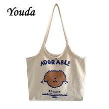 Youda original moda lona feminina sacos casuais senhoras bolsa de compras estilo vintage saco para feminino clássico meninas bolsa tote