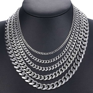 Curb Cuban Mens Necklace Chain Gold Black Silver Color Stainless Steel Necklaces for Men Fashion Jewelry 3/5/7/9/11mm DKNM07