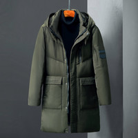 Green & black Men Winter Thick warm Hooded White duck Down Jacket Man Russia Winter thickening cold and windproof long Coat