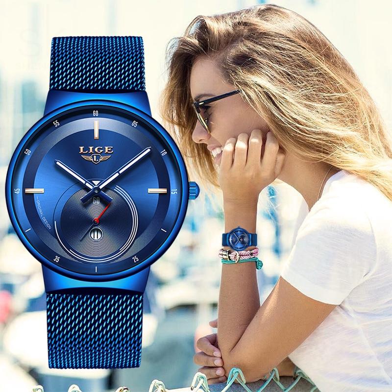 2020 Watch Women And Men Watch LIGE Top Brand Luxury Ladies Mesh Belt Ultra-thin Watch Waterproof Quartz Wrist Watch Reloj Mujer