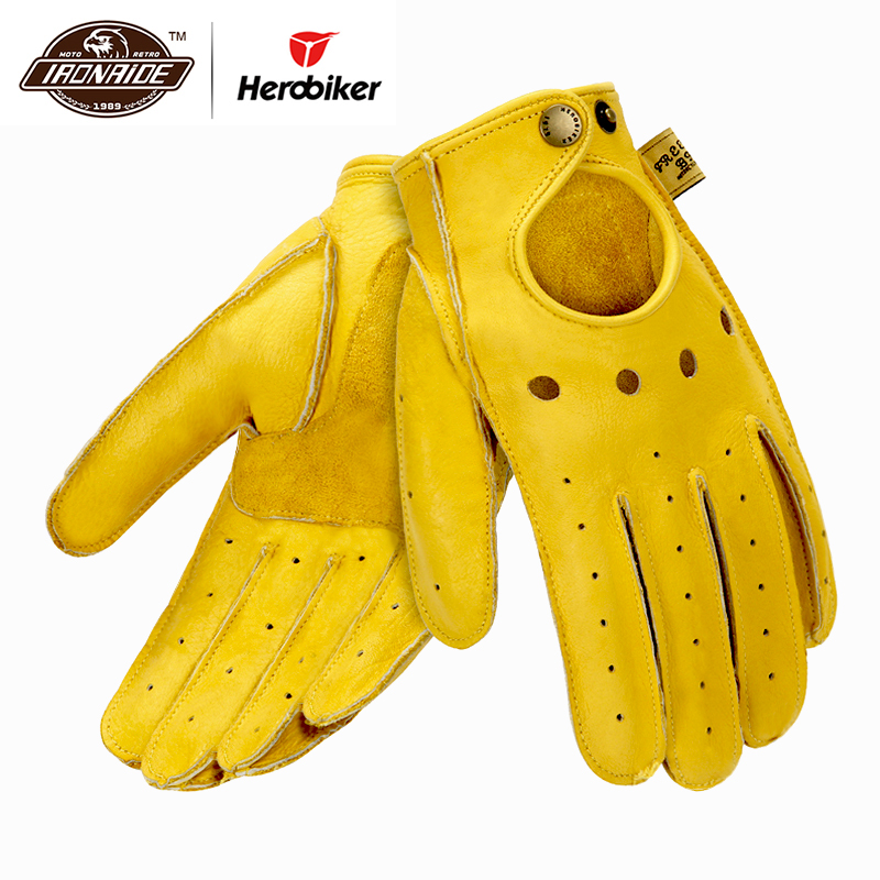 New Genuine Sheepskin Leather Motorcycle Gloves Men Vintage Motorbike Full Finger Gloves Retro Biker Touchscreen Moto Gloves-in Gloves from Automobiles & Motorcycles