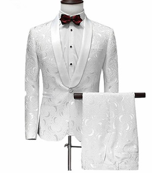 Biały garnitur męski jeden guzik żakardowy garnitur z spodnie smoking duży kołnierz garnitur weselny Custom Made dwa kawałki garnitury (kurtka + spodnie) tanie i dobre opinie KapokBanyan COTTON Poliester Z wełny Groom wear REGULAR Mieszkanie Zipper fly Pojedyncze piersi 2006 Skośnym