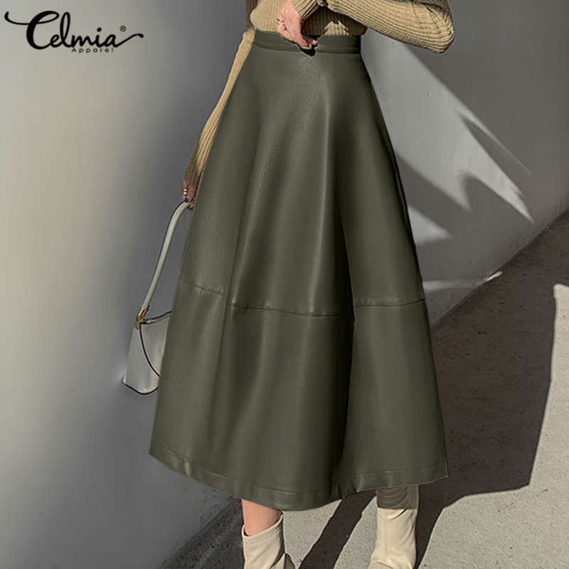Elegant OL A-Line Skirts Women Vintage PU Leather Skirts Celmia 2021 Autumn Casual Loose Solid Street Zipper Office Skirt 5XL