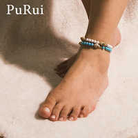 PuRui Bohemian Natural Conch Shell Ankle Bracelet Anklets for Women Round Breads Charm Elastic Bracelet Foot Chain Boho Jewelry