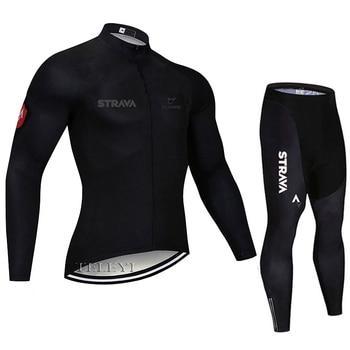 2019 strava outono manga longa camisa de ciclismo conjunto bib calças ropa ciclismo roupas de bicicleta mtb camisa uniforme roupas masculinas 24