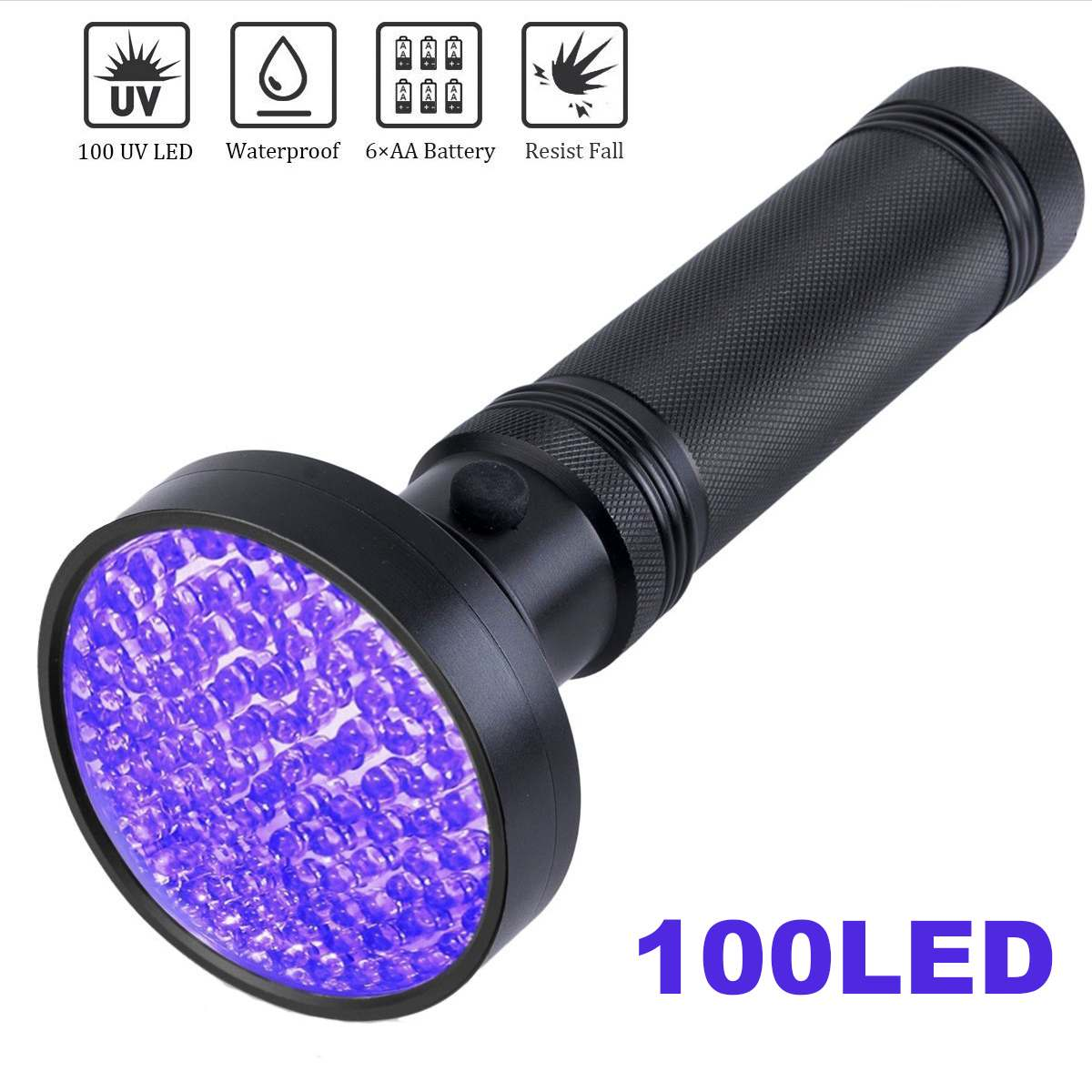 LED <font><b>UV</b></font> Flashlight 100 LEDs <font><b>395</b></font> <font><b>nm</b></font> Ultraviolet <font><b>UV</b></font> LED Torch Back Detector Light for Dog Cat Urine Pet Stains Bed Bugs Scorpions image