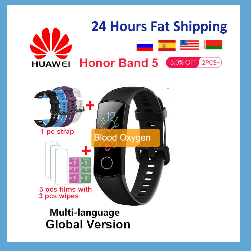 Huawei Honor Band 5 4/4e/Global Smart Band Blut Sauerstoff Fitness Tracker Heart Rate Monitor 50M wasserdichte Bluetooth Armband