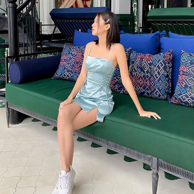yuqung Women split Dresses Satin silk Backless Sleeveless lace up Party Night Club Mini Dresses Spaghetti Straps Elegant Dress 6