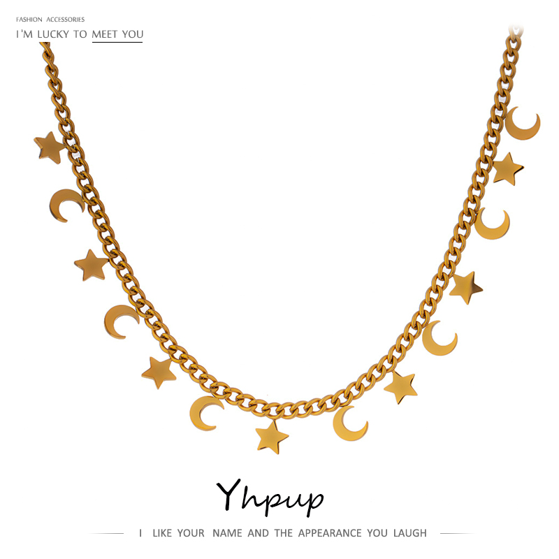 Yhpup Trendy Star Moon Chain Choker Necklace for Women Stainless Steel Fashion Necklace Gold Color Metal Jewelry Accessories New