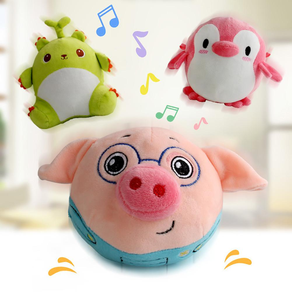 GloryStar Cartoon Animal Electronic Vibrator Ball Electric Plush Doll Jumping Toy Music Tumbler Cute Gifts For Kids