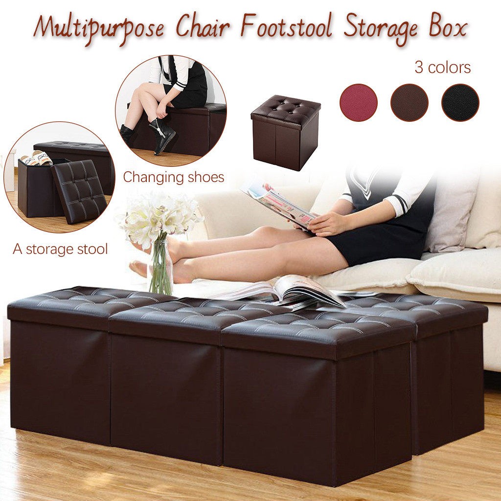 Folding Ottoman Storage Box Pouffe Seat