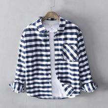 Korean Style Fashion Men Shirts High Quality 100% Cotton Long Sleeve Plaid Shirt Autumn Streetwear Campus Youth Casual