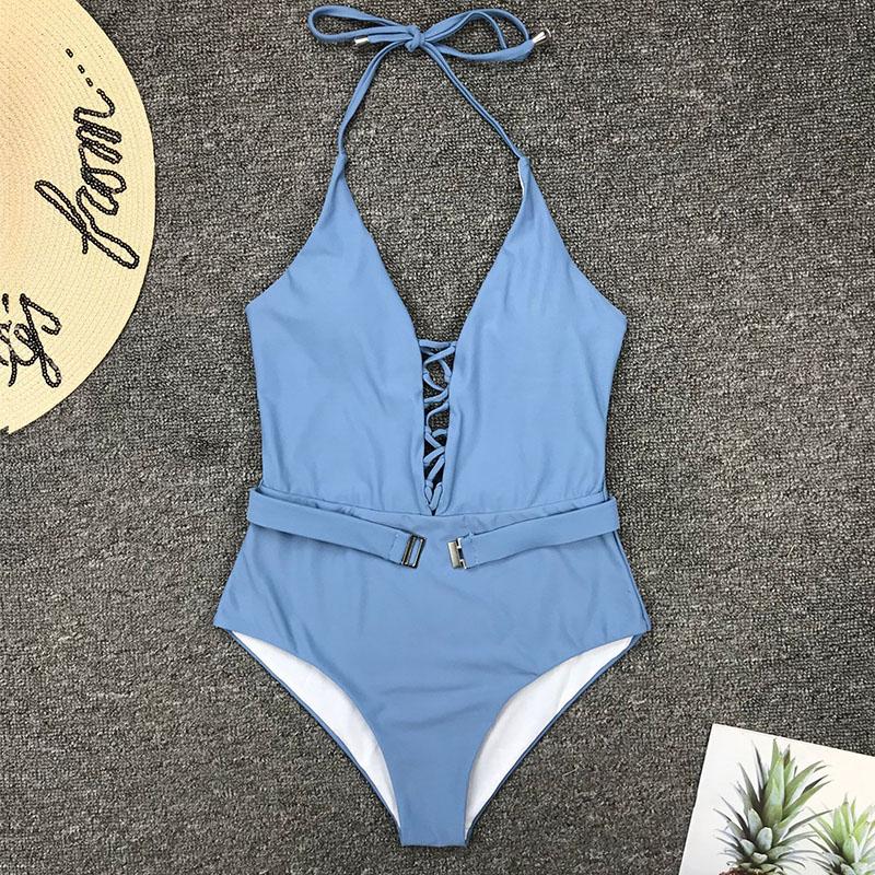 Одноцветный купальный костюм с бретельками, модель 2020 года, сексуальный купальник для женщин, с поясом, с высокой посадкой, пляжная одежда, u-... 72