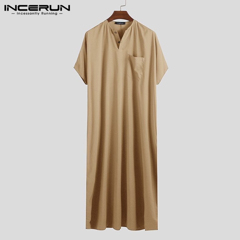 INCERUN Jubba Thobe Men Islamic Arabic Kaftan Solid Short Sleeve Loose Retro Robes Abaya Middle East Muslim Clothing Plus Size 7 4