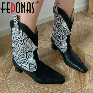 FEDONAS Sexy Mixed Colors Chelsea Boots Women 2020 Winter Genuine Leather Mid-Calf Boots For Women Night Club Party Shoes Woman