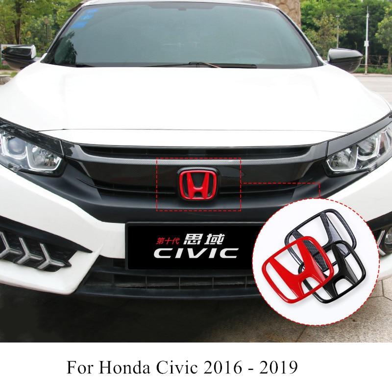 Car Front Grille Emblem ABS Carbon Fiber Badge Trunk Logo Decoration Accessories For Honda Civic 2016 2017 2018 2019