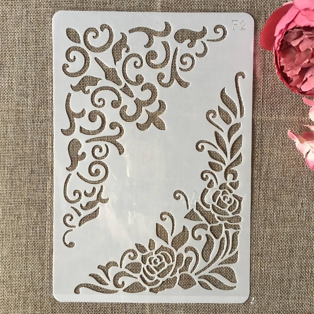 26cm Flower Edge DIY Layering Stencils Wall Painting Scrapbook Coloring Embossing Album Decorative Card Template