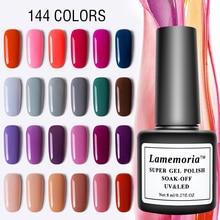 Lamemoria 8ml Gel Nail Art Polish Varnish for Manicure UV 144 Colors Vernis Semi Permanent Hybrid Lak Top Primer Base