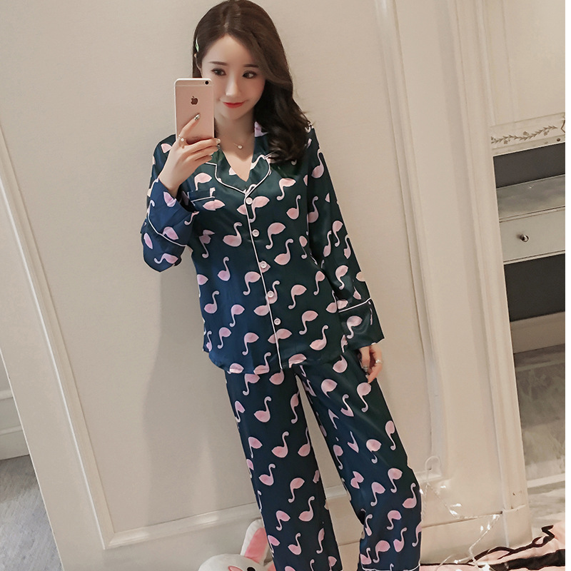 2018 Autumn New Products Long Sleeve WOMEN'S Pajamas Fold-down Collar Imitated Silk Fabric Casual Loose-Fit Duck Homewear Set