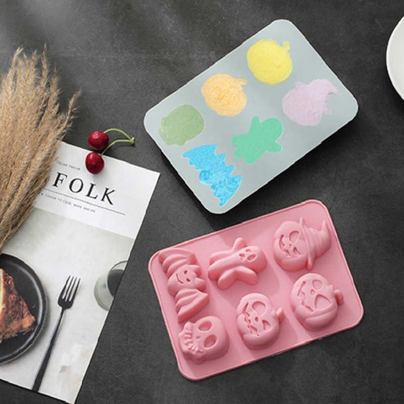 Halloween DIY Silikon Cokelat Cetakan Waffle Puding Cetakan Baking Alat Es Kue Dekorasi Rumah Baking Alat Dapur Aksesoris