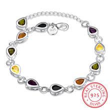 Женский браслет с цветными сердечками из стерлингового серебра