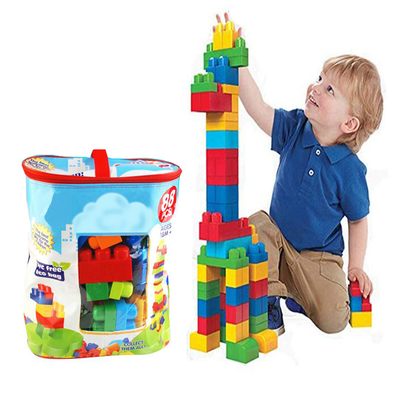 Cross Border Hot Selling Large Size Granule Building Blocks 88 Block Educational Building Blocks Assembled Fight Inserted Buildi