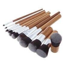11 pçs pincéis de maquiagem conjunto natural bambu pó fundação contorno escova conclear rosto maquiagem brosse cosméticos pincel maquiagem