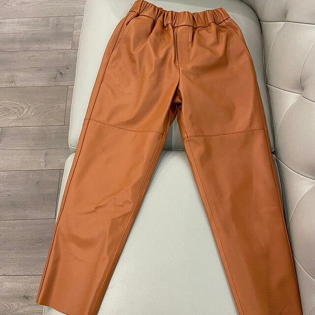 Women pants Real leather pants Women leather trousers high waist harem pants plus size 2021 new Elastic waist streetwear pants 4