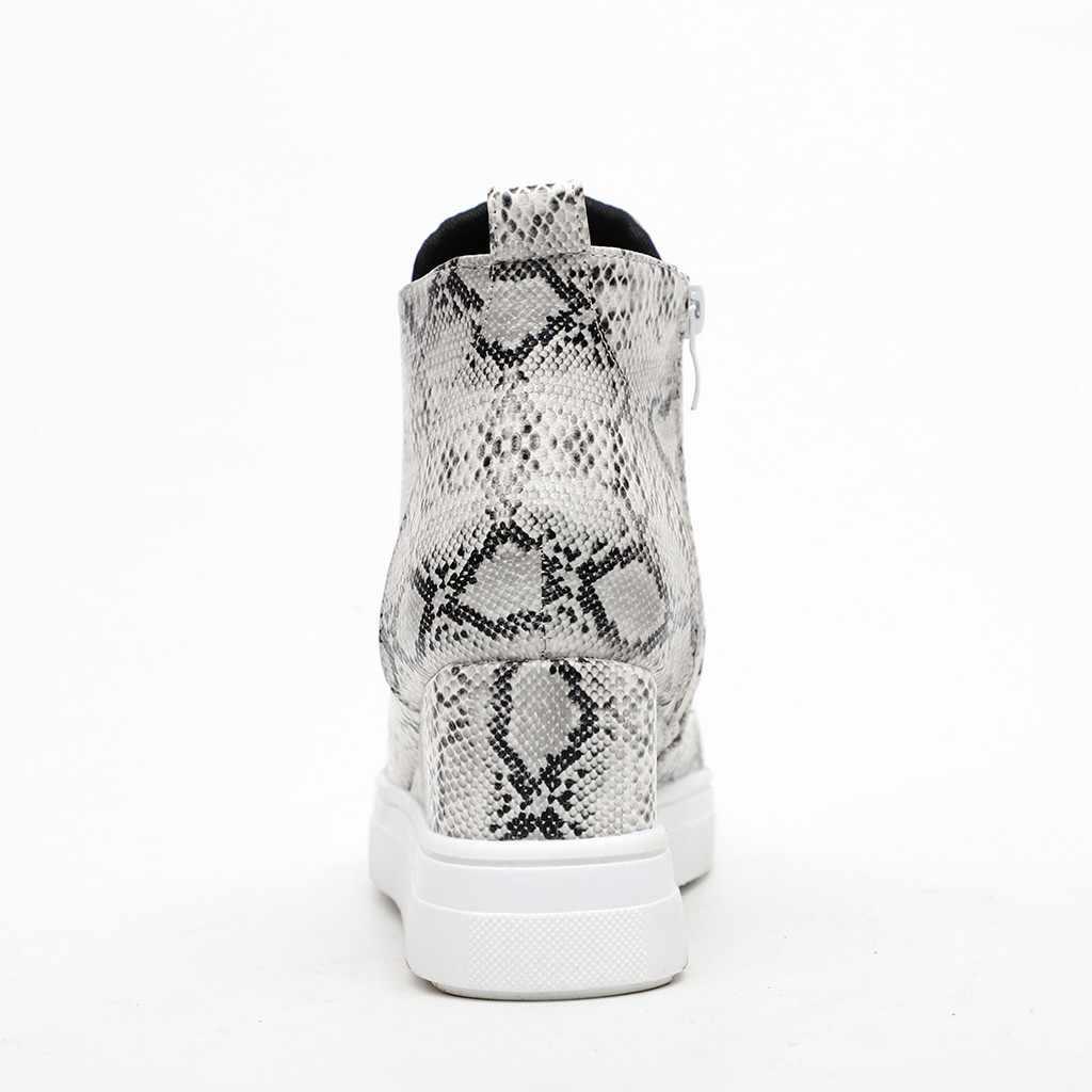 Sagace Nữ Thời Trang Nữ Retro Nêm Da Báo Mắt Cá Chân Mũi Tròn Thường Lớn Kích Thước Mắt Cá Chân Nữ Fashionshoes Giày #45