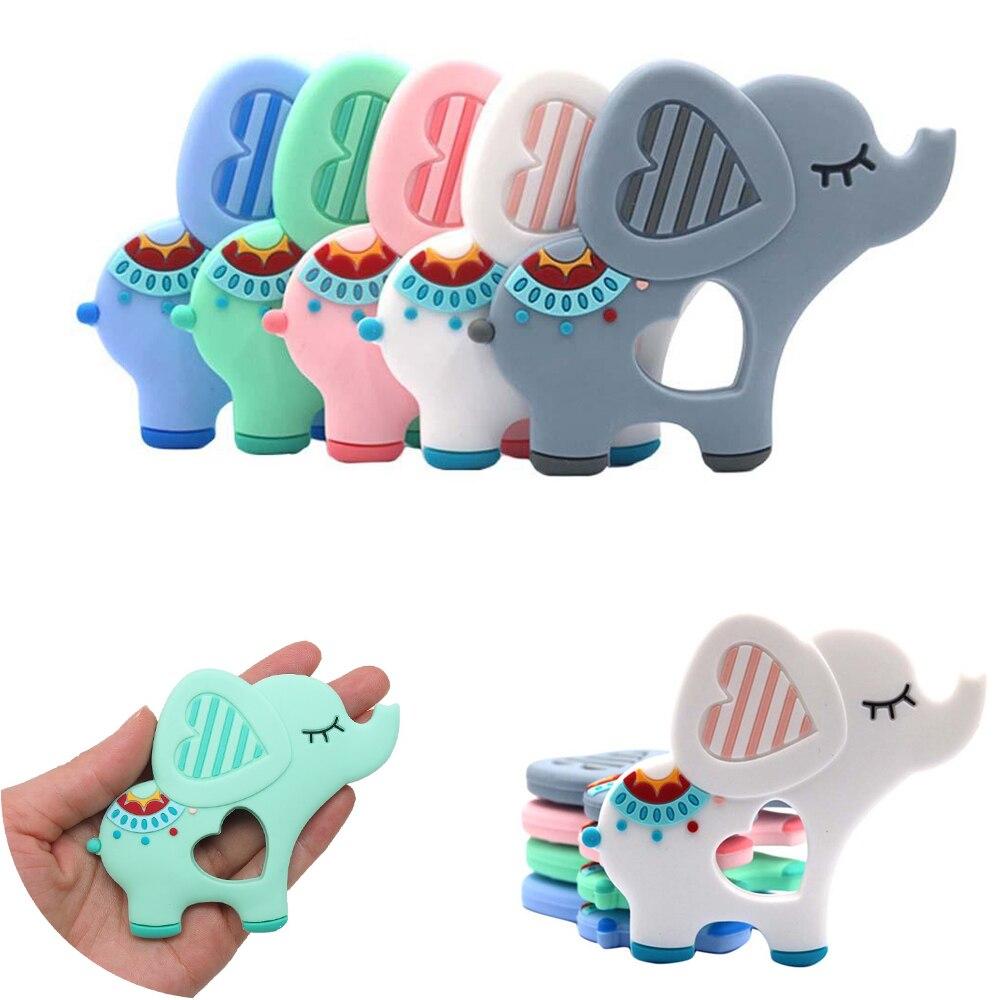 1 Pcs Silicone Teether Cartoon Animal Elephant Baby Teether Food Grade Baby Teething Chew Charms Toy Teething Nursing