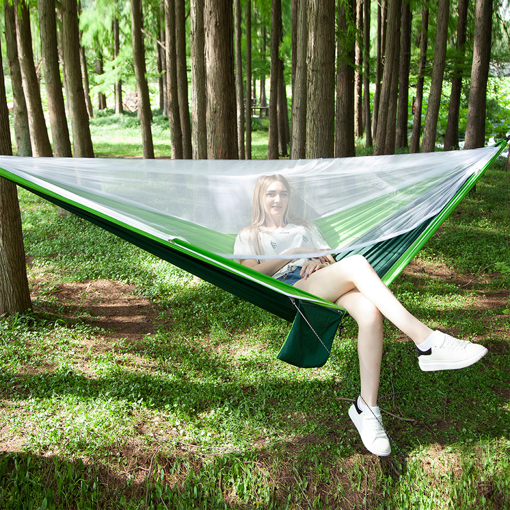 Outdoor Hammock Mosquito Net Travel Camping Hunting Nylon Hammack Ten Automatic Quick Open Anti-mosquito Hanging Sleeping Bed