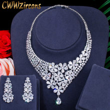 CWWZircons Shiny Big Wide Flower Drop African Dubai CZ Necklace Earrings Wedding Bridal Dress Jewelry Sets Accessories T386(China)