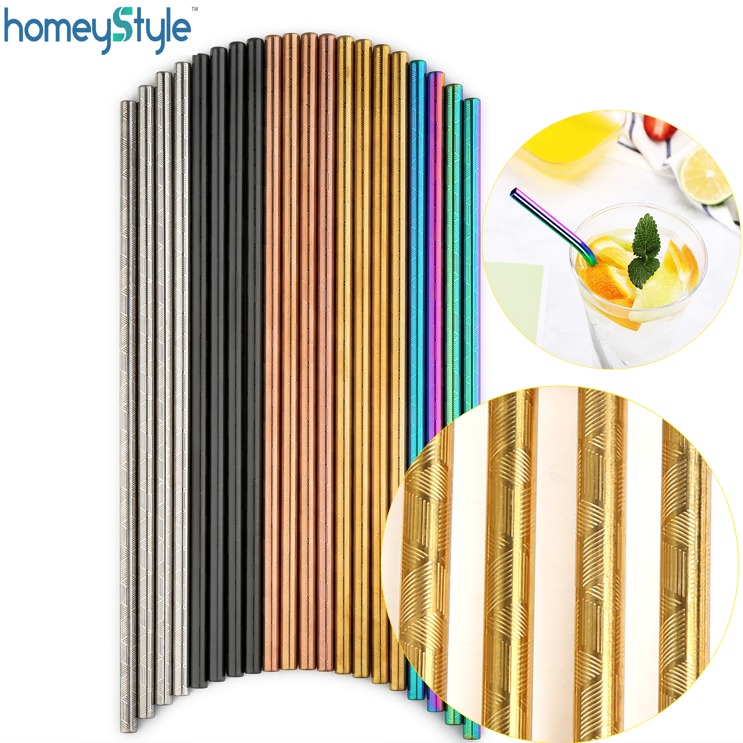 100 Pcs Patterned Wholesale Metal Straw Colorful Reusable Stainless Steel Straw E co Friendly Portable Drinking Tubes For 20/30-in Drinking Straws from Home & Garden    1