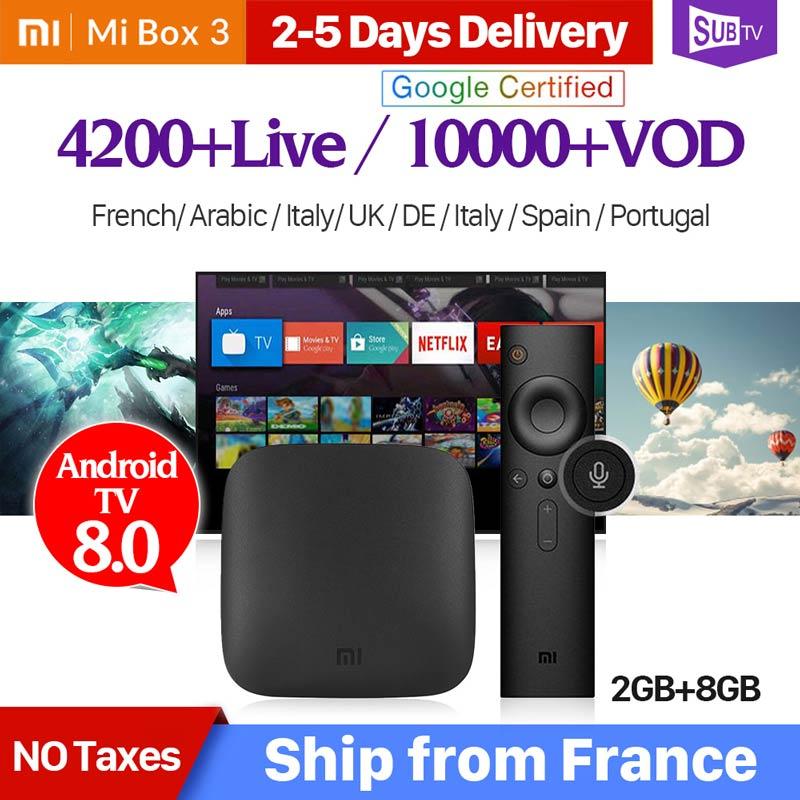 4K IPTV France Mi BOX 3 4K 2G 8G Android TV 8.1 Google Cast Mi Box 3 1 Year SUBTV Code IPTV Subscription Arabic French IP TV