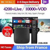 4K IPTV France Mi BOX 3 4K 2G 8G Android TV 8.1 Google Cast Mi Box 3 1 Year SUBTV Code IPTV Subscription Arabic French IP TV