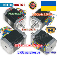 UKR ship free shipping 4PCS NEMA23 76mm Length 4 leads 270Oz in 3A CNC stepper motor for CNC Router/Engraving/Milling machine