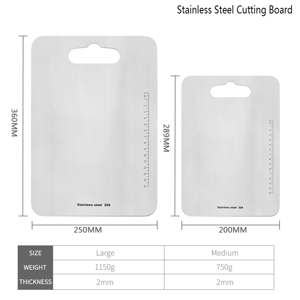 Image 2 - Damask 304 Stainless Steel Chopping Board Antibacterial Cutting Boards with Measuring Ruler Kitchen Chopping Blocks Cutlery ToolChopping Blocks   -