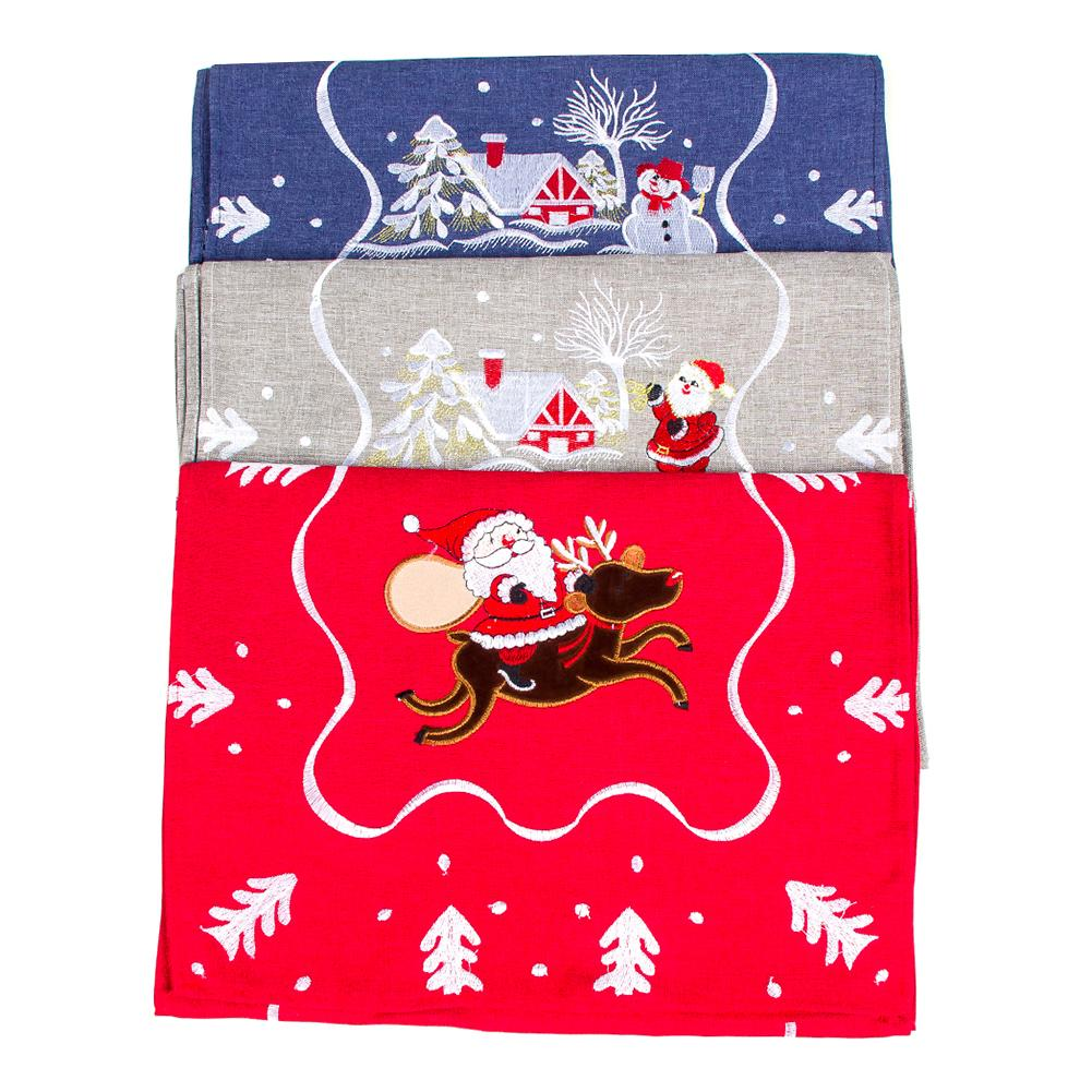 Polyester Cotton Table Cover Christmas Snow Man Embroidery Runner Tea Table Party Wedding Banquet Household Decoration 180 40cm in Pendant Drop Ornaments from Home Garden