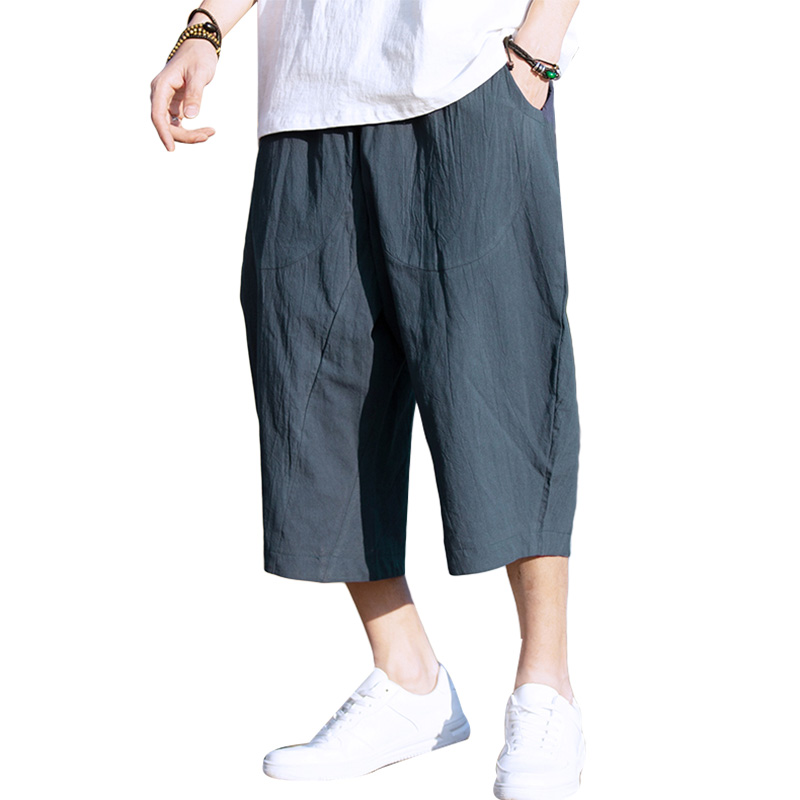 Linen Men Shorts Casual Thin Solid Color Summer Plus Size Harem Shorts Sport With Pockets Loose Kleding Mens Half Pants XX60MS