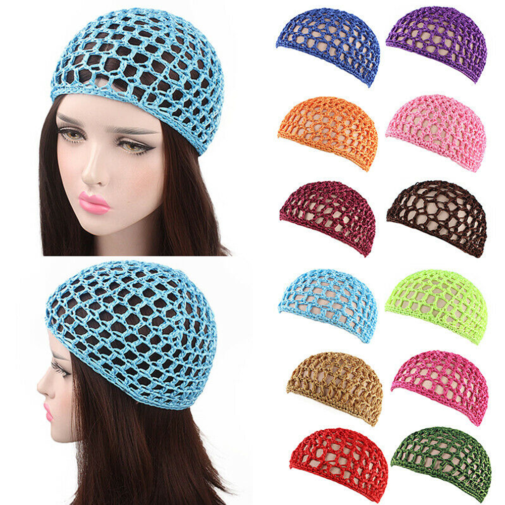 Women Soft Rayon Crochet Hairnet Oversize Knit Hat Cap Solid Color Snood Sleeping Night Hair Net Headbands Lady Hair Accessories