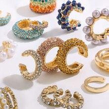 Anneaux d'oreille multicolores à porter ensemble pour femme, clips en forme de C sertis de cristal de zircons cubiques, à porter sans percer les oreilles, nouveauté 2020