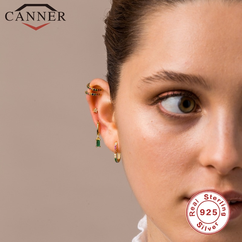 CANNER 100% 925 Sterling Silver Luxury CZ Crystal Circle Round Hoop Earrings for Women Piercing Earrings Silver 925 Jewelry