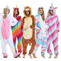 Пижамы для взрослых, Женская Фланелевая пижама, унисекс, кигуруми, милый единорог, стежок, Мультяшные животные, пижамный комплект, Детская П...
