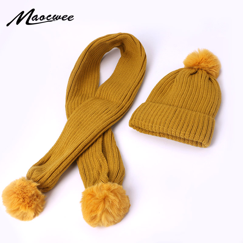 Lovely Baby Pompon Hat And Scarf Set Winter Children Outdoor Knitted Warm Scarf Beanie Hats Set Fashion Solid Scarf For Girl Boy