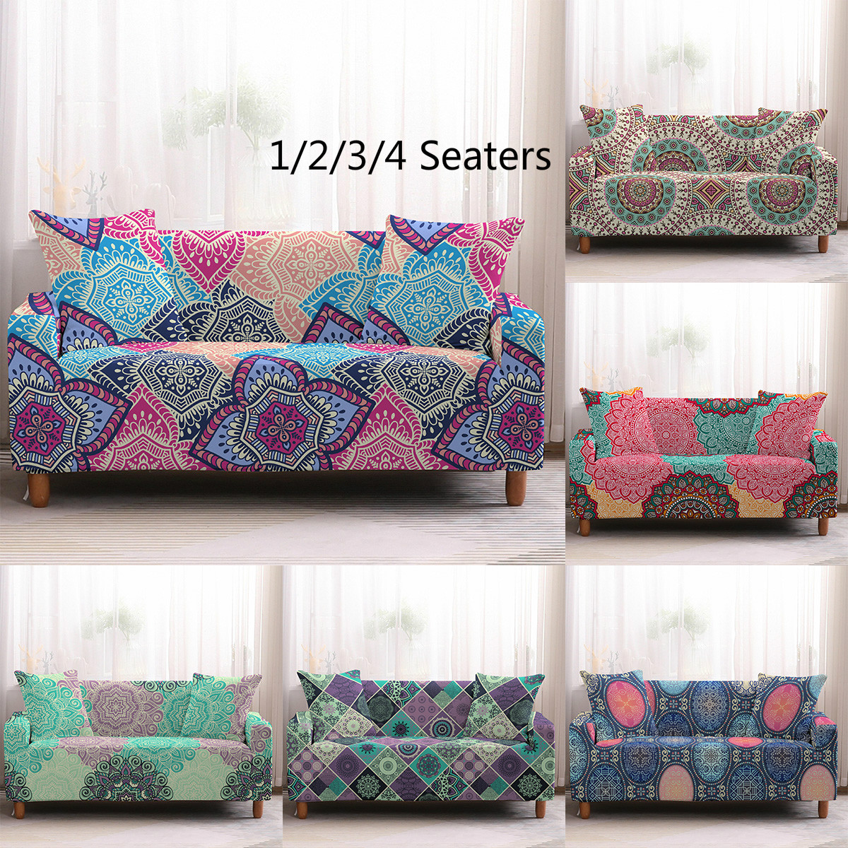 Bohemia Pattern Slipcovers Sofa Cover sofa towel Living Room Furniture Protective Armchair couches sofa 1-4 seater(China)