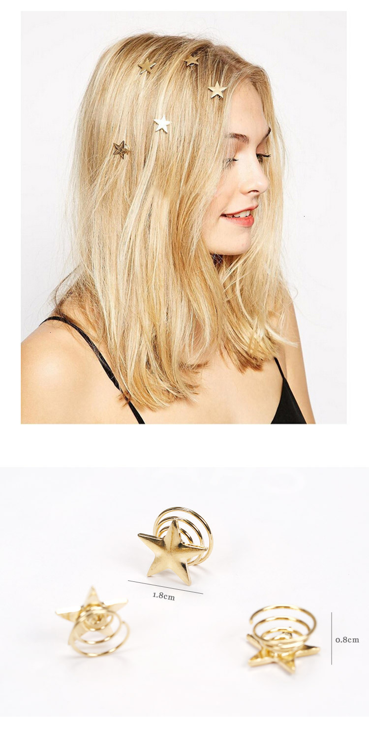 Concise Spiral Hairpin Gold Plating Alloy Hair Clip Disc Hairstyle Ornaments Metal Geometric Stars Wedding Pearls Headwear Jewel