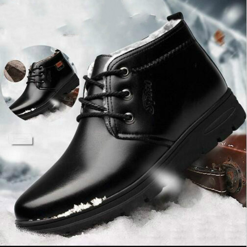 Brand Hot Keep Warm Men Winter Boots High Quality Genuine Leather Wear Casual Shoes Working Fashion Men Shoes Ghn89